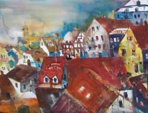 Dachlandschaft Meißen-Aquarell/Watercolor-56/76 cm-Andreas Mattern-2013