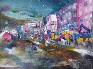 Heidelberg-Baustelle Bahnstadt-Aquarell/Watercolor -56/76 cm-Andreas Mattern-2013