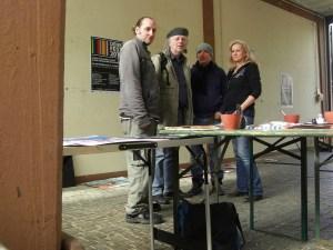 Elke Memmler, Wolfgang Steche (Projekt-Fotograf), Mario Stiller und Andreas Mattern im Atelier Alte Feuerwache Heidelberg (c) Andreas Mattern-2013