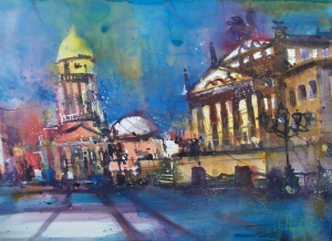 Berlin Gendarmenmarkt-Aquarell/Watercolor-56/76 cm-Andreas Mattern-2013