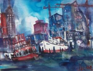 Hamburg-Elbphilharmonie-Aquarell/Watercolor /Mischtechnik-56/76 cm-Andreas Mattern-2013
