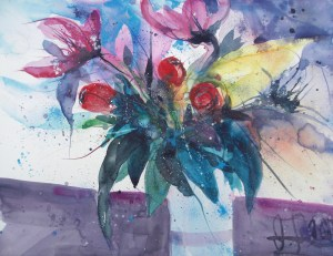 Blumen in blauer Vase-Aquarell/Watercolor-56/76 cm-Andreas Mattern-2013-WV 080/2013