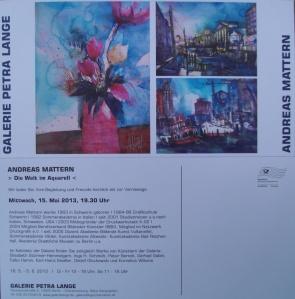 """Einladung """"Die Welt im Aquarell"""" Andreas Mattern in der Galerie Petra Lange 2013"""