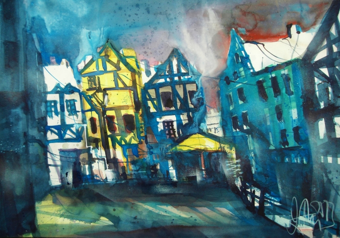 Quedlinburg-Aqurell/Watercolor-56/76 cm-Andreas Mattern-2013