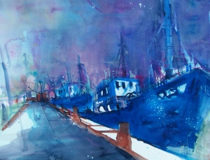 Sassnitz, Blaue Schiffe-Aquarell/Watercolor-56/76 cm-Andreas Mattern-2013
