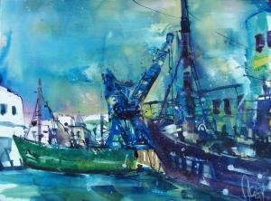 Schiffe Sassnitz-Aquarell/Watercolor-56/76 cm-Andreas Mattern-2013