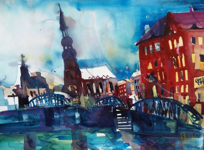 Hamburg-Pickhubenbrücke-Aquarell/Watercolor-56/76 cm-Andreas Mattern-2013