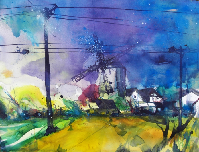 Landschaft mit Mühle-Aquarell/Watercolor-56/76cm-Andreas Mattern-2013