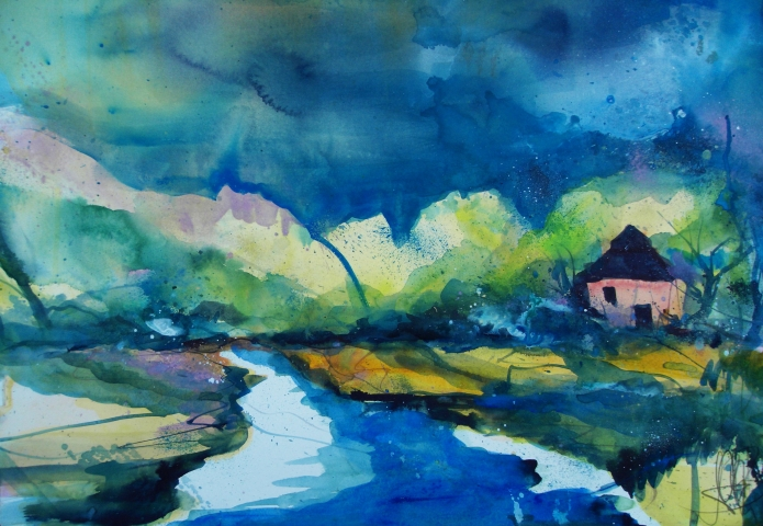 Landschaft bei Prerow-Aquarell/Watercolor-56/76 cm-Andreas Mattern-2013