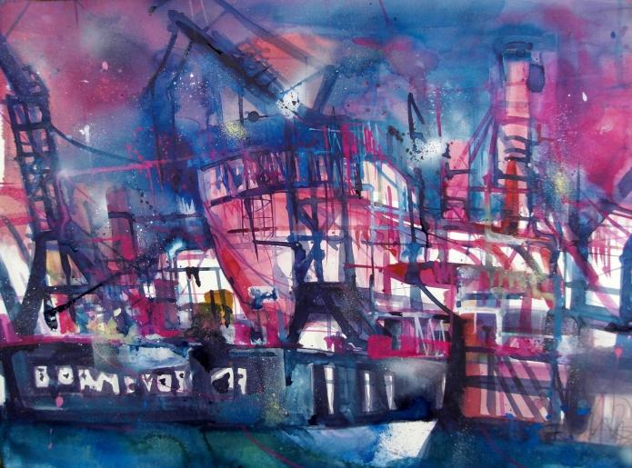 Hamburg, Werft-Aquarell/Watercolor -56/76 cm-Andreas Mattern-2013