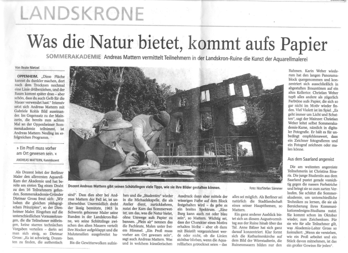 Presse, Sommerakademie Oppenheim, 8.08.2013