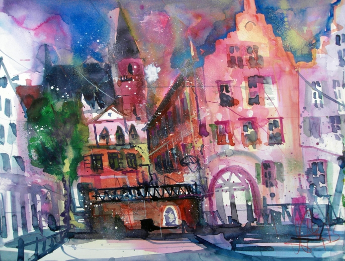 Oppenheim Rathaus-Aquarell/Watercolor-56/76 cm-Andreas Mattern-2013