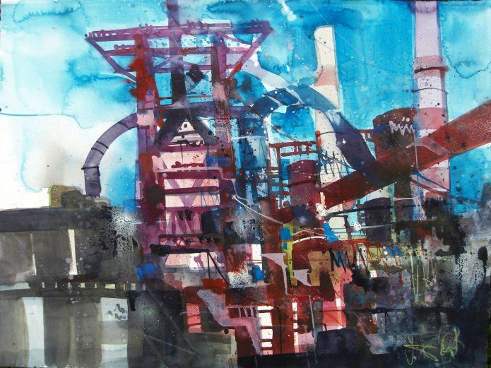 Industrielandschaft-Aquarell/Watercolor-56/76 cm-Andreas Mattern-2013