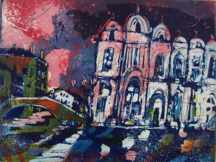Andreas Mattern-Venedig E.Paolo-Radierung/Aquatinta von 3 Platten-15/20cm-2013