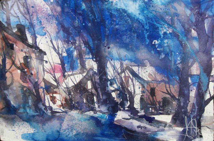 Im Winter-Aquarell 38/56 cm-Andreas Mattern-2013