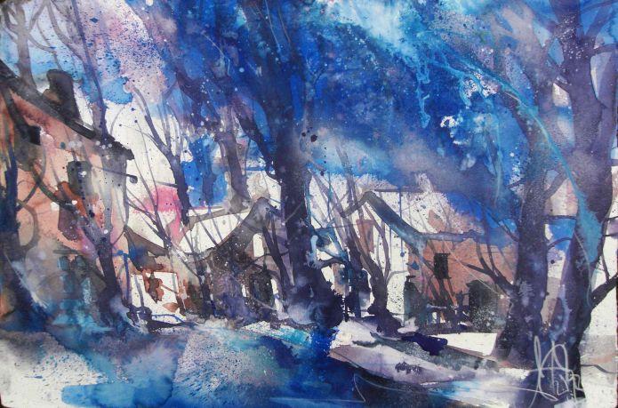Im Winter-Aquarell 38/56 cm-Andreas Mattern-2013