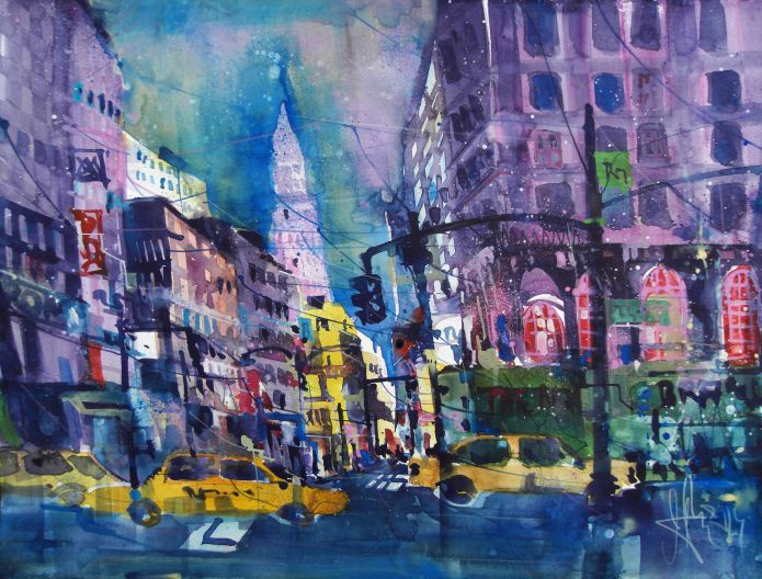 New York (Taxi), Aquarell/Watercolor 56/76 cm, Andreas Mattern.2014