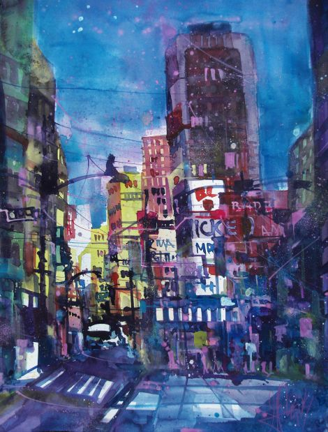 New York-Aquarell/Watercolor-76/56 cm-Andreas Mattern-2014