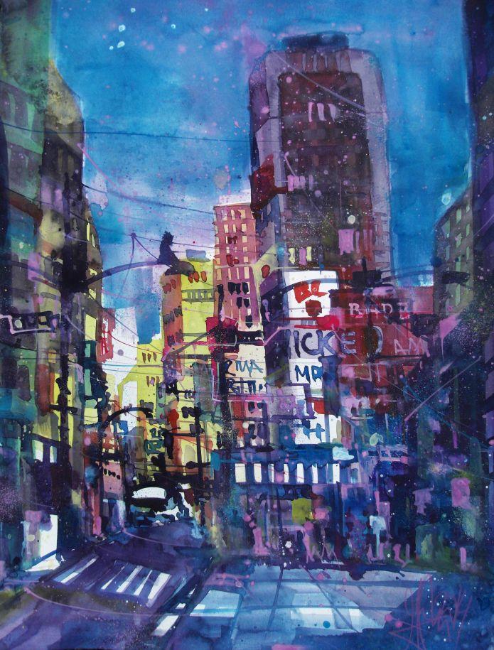 New York-Aquarell/Watercolor-76/56 cm-Andreas Mattern-2014