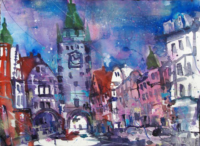 Freiburg-Aquarell/Watercolor 56/76 cm-Andreas Mattern-2014