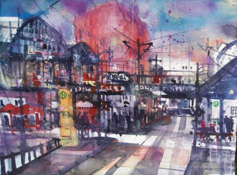 Friedrichstrasse Berlin-Aquarell/Watercolor-56/76 cm-Andreas Mattern-2014