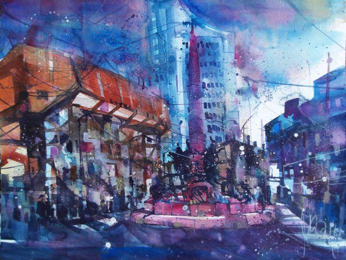 Leipzig; Gewandhaus (Augustusplatz)-Aquarell/Watercolor 56/76 cm-Andreas Mattern-2014