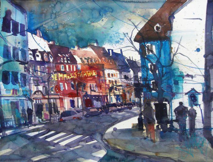 Semmelstr.Würzburg-Aquarell/Watercolor 56/76 cm-Andreas Mattern-2014