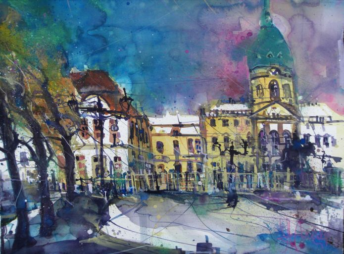Schloss Charlottenburg-Aquarell/Watercolor-56/76 cm-Andreas Mattern-2014