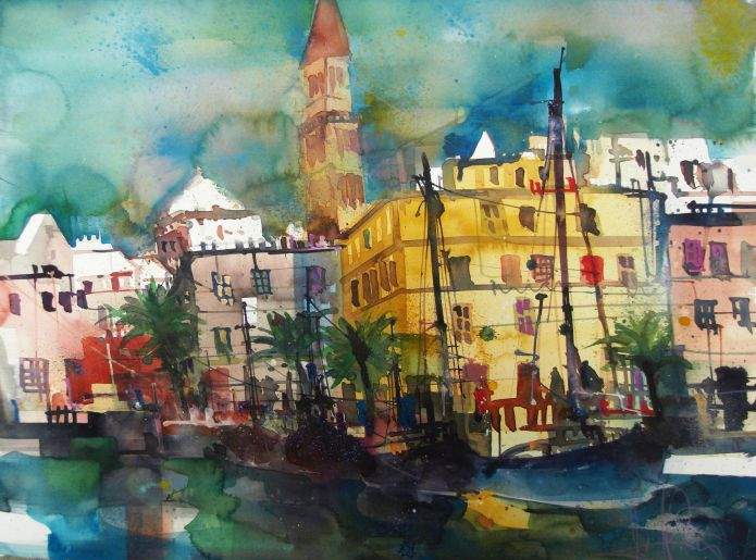 Bari Hafen-Aquarell/Watercolor-56/76 cm-Andreas Mattern-2014