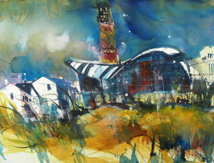 Warnemünde (Leuchtturm)-Aquarell 56/76 cm -Andreas Mattern-2014