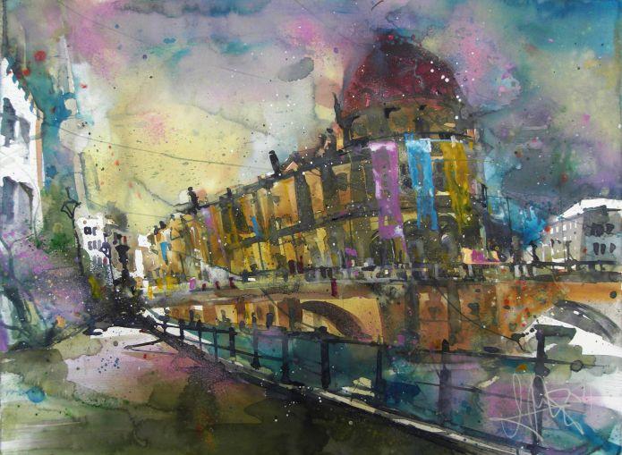 Bodemuseum (Fahnen) -Aquarell/Watercolor-56776 cm-Andreas Mattern-2014