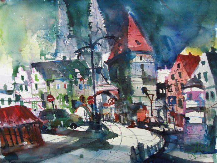 Kornmarkt Regensburg-Aquarell/Watercolor-56/76 cm-Andreas Mattern-2014