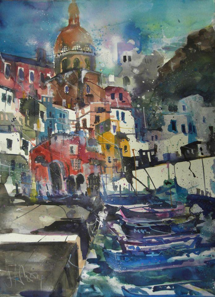 Pro`cida-Aquarell/Watercolor-56/76 cm-Andreas Mattern-2014