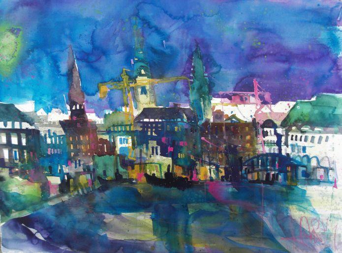 Binnenalster Hamburg-Watercolor-56/76 cm-Andreas Mattern-2014
