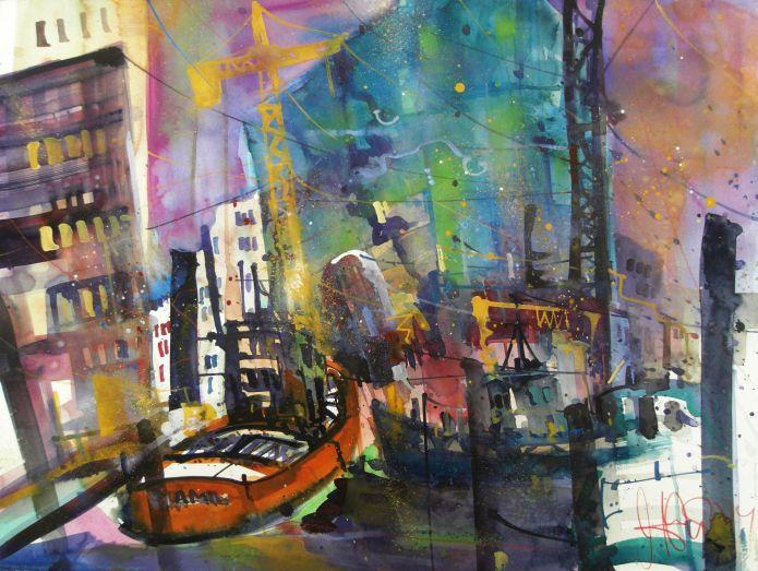 Hamburg Elbphilharmonie-Watercolor-56/76 cm-Andreas Mattern-2014