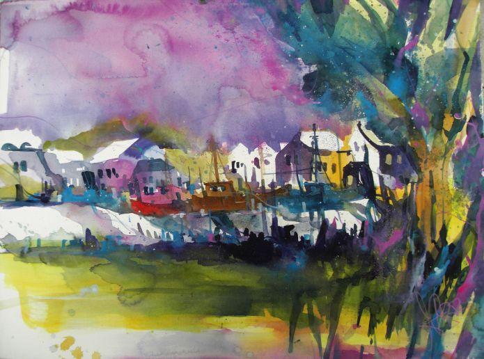 Hafen Prerow-Watercolor 56/76 cm-Andreas Mattern-2014