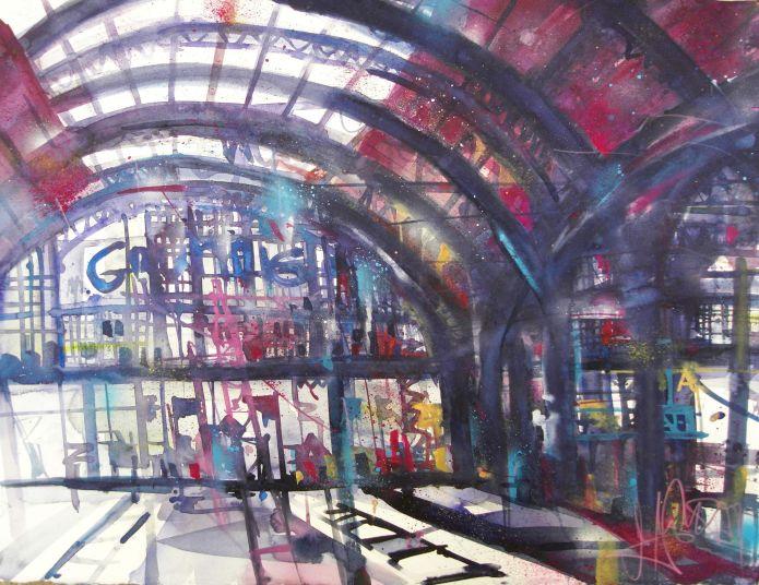 Hauptbahnhof Leipzig-Watercolor-56/76 cm-Andreas Mattern-2014