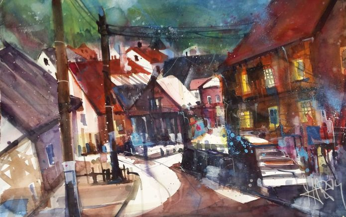 Tanne (Harz) -Watercolor -56776 cm- Andreas Mattern-2014