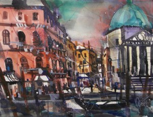 Venedig , Chiesa, Watercolor 56/76 cm, Andreas Mattern,2015