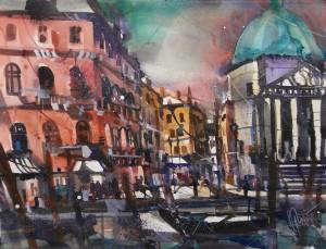 Venedig , Chiesa, Watercolor 56/76 cm, Andreas Mattern,2015