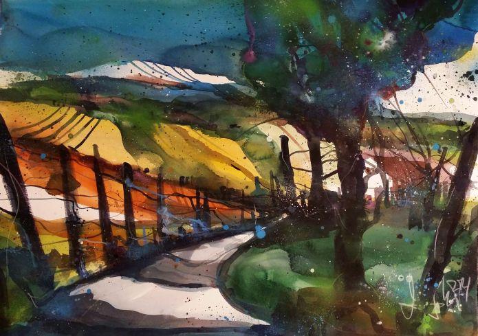 Landschaft bei Dernau-Watercolor 56/76 cm-Andreas Mattern-2014