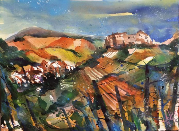 Saffenburg, Ahrtal-Watercolor 56/76 cm-Andreas Mattern-2014