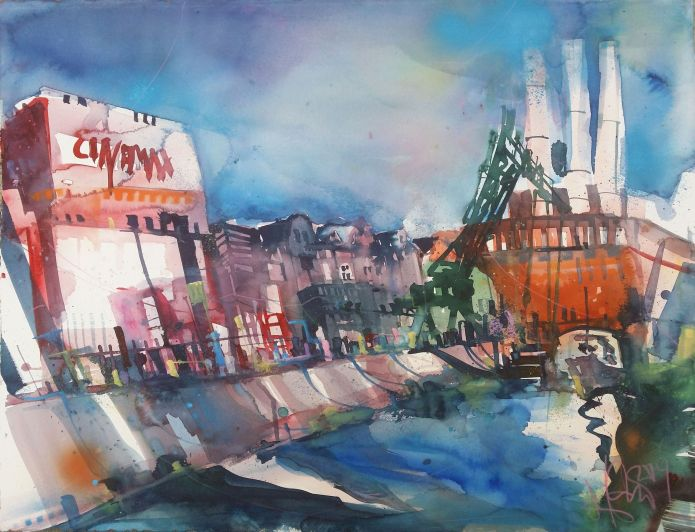 Alter Hafen Würzburg-Watercolor-56/76 cm-Andreas Mattern-2014