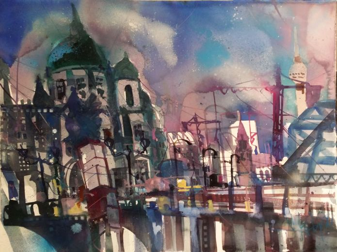 Berliner Dom-Watercolor-56/76 cm-Andreas Mattern-2014