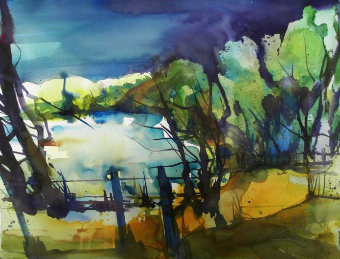 Hinterland mit See/Pinnow-Watercolor 56/76 cm-Andreas Mattern-2014