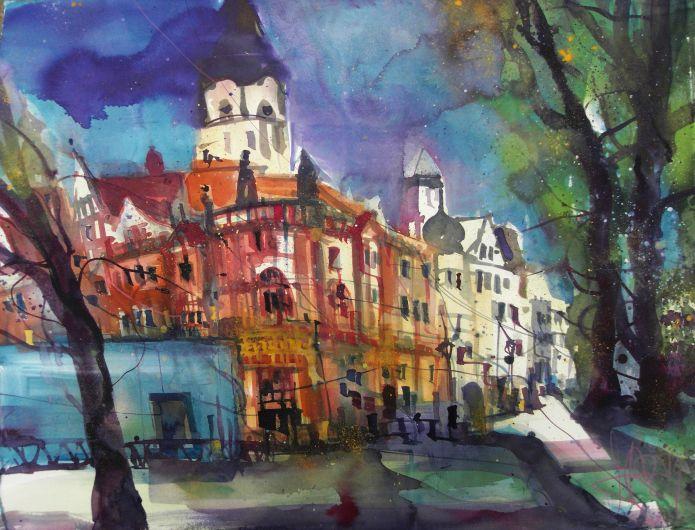 Leipzig, Wilhelm-Leuschner-Platz, Watercolor 56/76 cm-Andreas Mattern-2014
