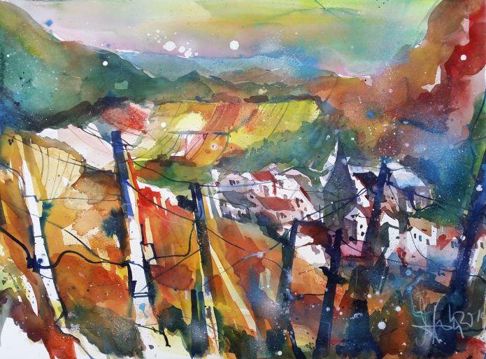 Mayschoss (Ahrtal)-Watercolor-56/76 cm-Andreas Mattern-2014