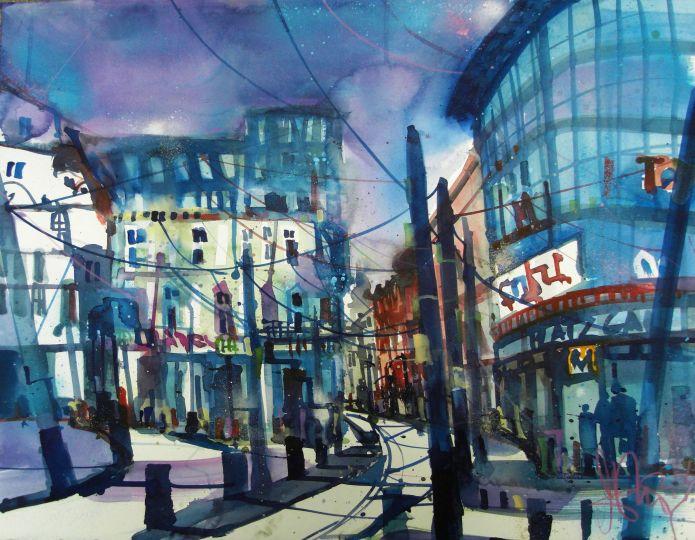 Schwerin Marienplatz-Watercolor 56/76 cm-Andreas Mattern-2014