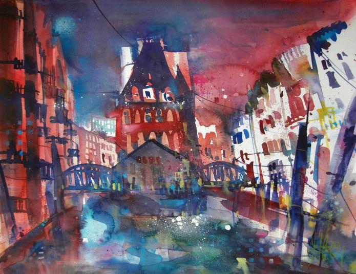 Speicherstadt HH-Watercolor-56/76 cm-Andreas Mattern-2014