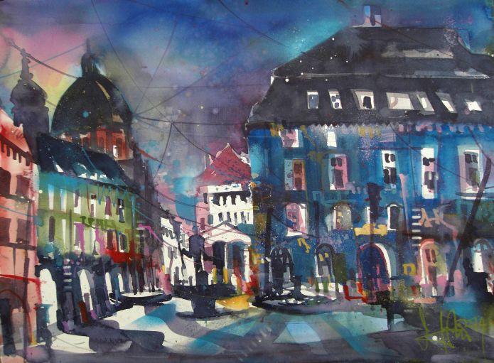 Würzburg Markt-Watercolor-56/76 cm-Andreas Mattern-2014